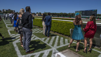 Social distancing measures at Randwick Racecourse on Melbourne Cup Day.