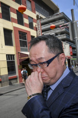 Sad day:  Co-owner Gabriel Chan outside the closed Shark Fin House.