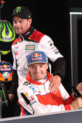 Cal Crutchlow (standing) has become a mentor to Australian Jack Miller.