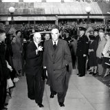 Prime Minister Robert Menzies arriving at Chifley's funeral.