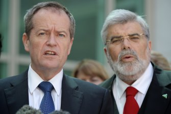 Former Labor leader Bill Shorten with Senator Kim Carr