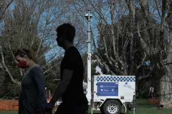 A police surveillance camera at the Victoria Gardens park in Prahran on Sunday.