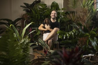 Josh O'Meara, co-owner of The Jungle Collective, a pop-up plant nursery during the Canberra warehouse sale on Friday.