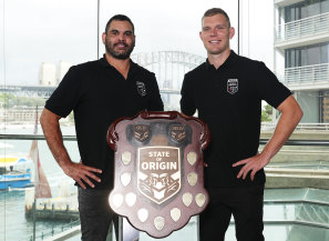 Greg Inglis and Tom Trbojevic were on hand to celebrate Ampol coming on board as the State of Origin naming rights sponsor on Tuesday.