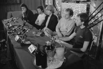 """""""You are not in physical danger."""" Dire Straits during their press conference at the Sebel Town House in Kings Cross, Sydney on  April 6, 1981."""