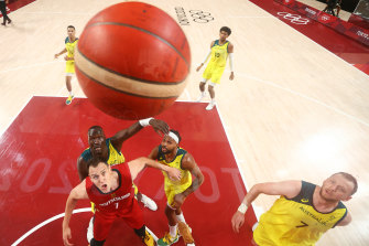 The Boomers wait for a rebound against Germany.