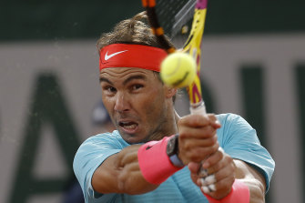 Rafael Nadal en route to victory in the French Open final on Sunday.