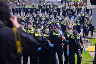 Hundreds of police were engaged to halt to protest.