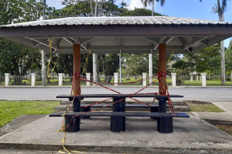 A picnic spot in front of the Prime Minister's residence is closed off to the public during the COVID-19 pandemic in Suva, Fiji.