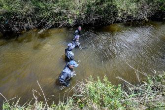 Deep and murky water made difficult search conditions for police on Monday.