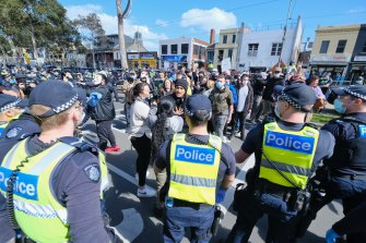 Police clashed with protesters at the Queen Victoria Market on Sunday