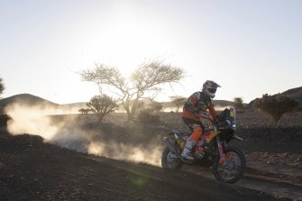 Toby Price rides his KTM motorbike during stage two of the Dakar Rally, from Al Wajh to Neom, in Saudi Arabia.