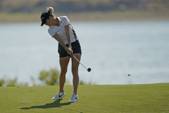 Jaye Marie Green hits her approach shot on the sixth hole.