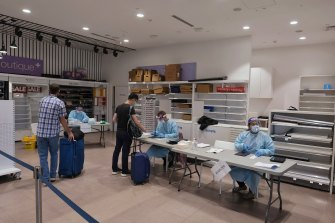 A coronavirus testing site set up at Melbourne Airport on Sunday.