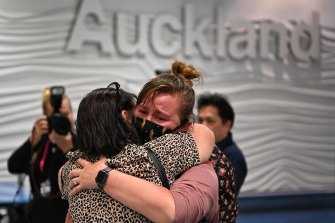 An emotional reunion at Auckland airport yesterday.