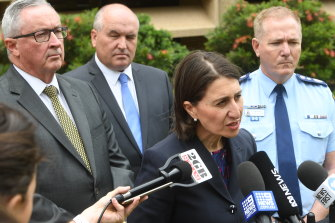 NSW Premier Gladys Berejiklian and her colleagues say several factors have contributed to the bushfires. Also pictured are Health Minister Brad Hazzard, Emergency Services Minister David Elliott and NSW Police Commissioner Mick Fuller.