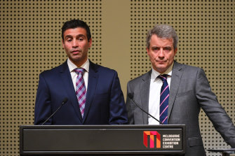 GM Holden interim chairman and managing director Kristian Aquilina and GM international operations senior vice president Julian Blissett address the media in Melbourne on Monday.