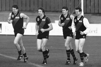 The four brothers at Essendon training in 1990 (from left): Terry, Neale, Chris and Anthony.
