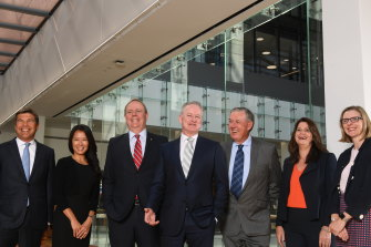 Nine's board of directors (L-R): Patrick Allaway, Mickie Rosen, Peter Costello, Hugh Marks, Nick Falloon, Catherine West and Samantha Lewis