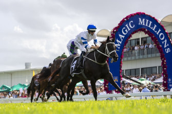 Graduation day . . . Shaquero wins the 2021 Magic Millions Two-Year-Old Classic.