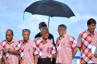 Prime Minister Scott Morrison (second from right) with Pacific leaders at the Pacific Islands Forum in Tuvalu in 2019.