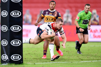 Former under-20s Brisbane player Lindsay Collins scored a 58th-minute try in the Roosters' 59-0 win over his former club.