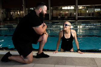 Tim Murray taught Sue Cato to swim as an adult at the National Centre of Indigenous Excellence in Redfern, Sydney.
