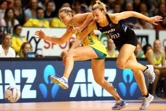 Australia's Liz Watson battles with New Zealand's Katrina Rore during their Constellation Cup clash in Christchurch.