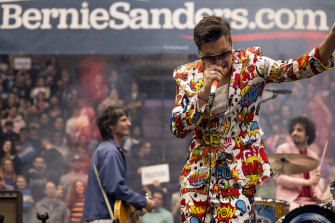 Julian Casablancas, lead singer of The Strokes, performs after Democratic presidential candidate Senator Bernie Sanders in Durham, New Hampshire.