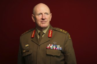 Lieutenant General John Frewen, the head of the COVID-19 vaccine taskforce, at his office in Canberra.