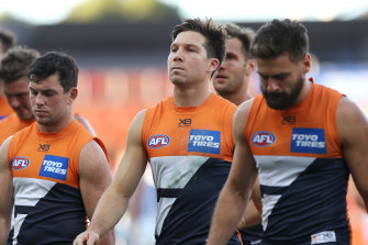 Toby Greene, centre, has been sidelined for round three.