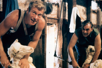 Sunday Too Far Away: Foley (Jack Thompson) and Tom West (Rob Bruning) at work shearing.