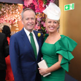 Opposition Leader Bill Shorten and his wife Chloe at the Tabcorp marquee.