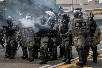 Riot police on the streets of Hong Kong on Sunday.