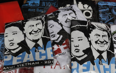T-shirts with portraits of US President Donald Trump and North Korean leader Kim Jong-un on sale in Hanoi, Vietnam.