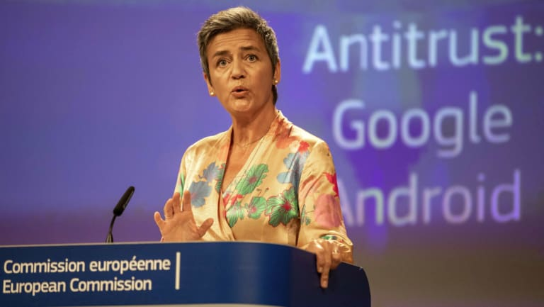 EU Competition Commissioner Margrethe Vestager has fined Google for abusing the market dominance of its Android mobile phone operating system.