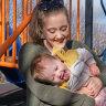 Breanna Macfarlane in Mildura with her children Willow, Nathaniel and Zacharia.