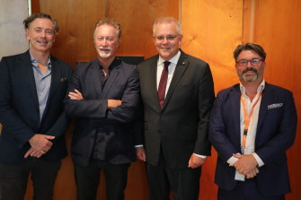 Paul Wiegard, Bryan Brown, Scott Morrison and Matthew Deaner in Canberra in February