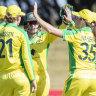 Australia celebrate during their win on Sunday.