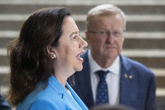 John Coates and Queensland Premier Annastacia Palaszczuk on Thursday morning in Brisbane.