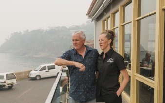 Anthony Daly and his wife Sally Daly, owners of Merimbula Wharf Aquarium and Restaurant are doing a tenth of the trade they normally expect in the December-January period.