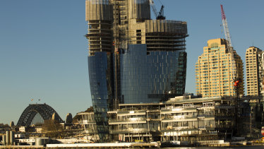 Crown's Barangaroo casino and apartment project is due to be completed in 2021.