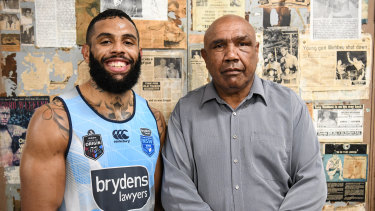 Across the generations: Josh Addo-Carr with grandfather Wally Carr after the boxing session. He wasn't too impressed.