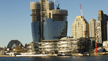 The Barangaroo casino and residential tower are well on the way to being built.