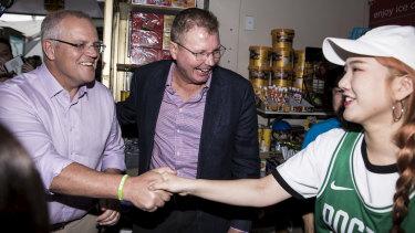 Prime Minister Scott Morrison and Reid MP Craig Laundy campaign at Strathfield Square, Sydney