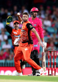 SCG villain ... Andrew Tye plays his part in running out Josh Philippe.