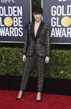 Fleabag creator and star Phoebe Waller-Bridge arrives at the 77th annual Golden Globe Awards.