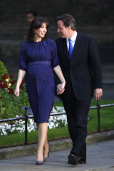 """""""Powerful moment"""": Samantha Cameron wears Emilia Wickstead on the night her husband, David Cameron, was elected British PM in 2010."""