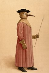 A plague doctor from Florence wearing the typical astonishing protective clothing.