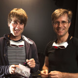 Professor Barner-Kowollik (right) with Dr Hannes Houck (left), who was the lead author on the research paper.